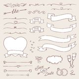 Vector wedding vintage set of design elements. black and white  template Stock Photo