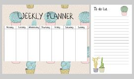 Vector weekly planner Royalty Free Stock Photo