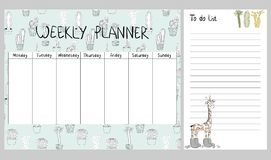 Vector weekly planner. Hand drawing vector weekly planner with cactuses and giraffe Royalty Free Stock Images
