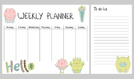 Vector weekly planner. Hand drawing vector weekly planner with monsters Royalty Free Stock Photography
