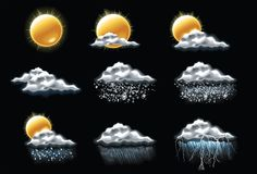 Vector weervoorspellingspictogrammen. Deel 1 Royalty-vrije Stock Afbeelding
