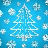 Vector Weißbuch Weihnachtsbaum auf dem blauen Hintergrund mit Schneeflocken Stockfotografie