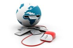 Vector weißen Umschlag mit Pfeil-E-Mail-Zeichenikone Lizenzfreies Stockfoto