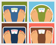 Vector weight control. Awesome and go or stop eat and fine, dieting and fitness Stock Photos
