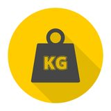 Vector Weight Kilogram Icons set with long shadow. Simple vector Royalty Free Stock Photos