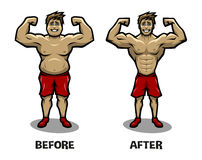 1 Vector 16. Before and after weight loss. Fat guy and athletic guy Royalty Free Stock Images