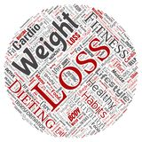 Vector weight loss healthy diet transformation round. Vector conceptual weight loss healthy diet transformation round circle red word cloud isolated background Stock Photos