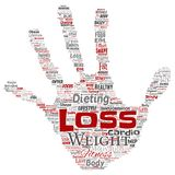 Vector weight loss healthy diet transformation. Vector conceptual weight loss healthy diet transformation hand print stamp word cloud isolated background Stock Image