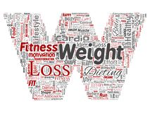 Vector weight loss healthy diet transformation. Vector conceptual weight loss healthy diet transformation letter font W word cloud isolated background. Collage Stock Image