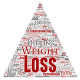 Vector weight loss healthy diet transformation. Vector conceptual weight loss healthy diet transformation triangle arrow word cloud isolated background. Collage Royalty Free Stock Photography