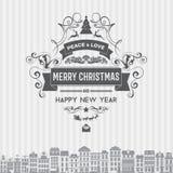 Vector Weihnachts- und guten Rutsch ins Neue Jahr-Ausweisaufkleberemblem mit sauberem modernem angeredetem Design Lizenzfreies Stockbild