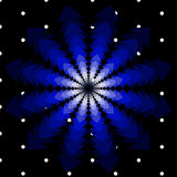 Vector Weihnachtshintergrund mit drehenden Bäumen in den Schatten des Blaus und der Schneeflocken Stockbilder