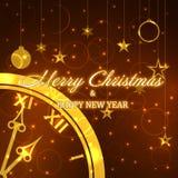 Vector Weihnachtshintergrund mit Uhr, Weihnachtsdekoration und Lichtern Lizenzfreies Stockfoto