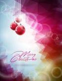 Vector Weihnachtsillustration mit roter Glaskugel auf abstraktem geometrischem Hintergrund Stockfotografie