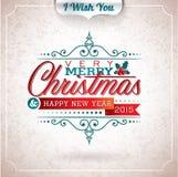 Vector Weihnachtsillustration mit typografischem Design auf Schmutzhintergrund Stockfotos
