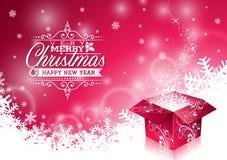 Vector Weihnachtsillustration mit typografischem Design und glänzende magische Geschenkbox auf Schneeflockenhintergrund Lizenzfreie Stockfotografie