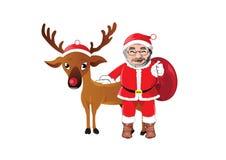 Vector Weihnachtsillustration von Weihnachtsmann und von rotem gerochenem Ren Stockfoto
