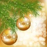 Vector Weihnachtskugel mit grünem Baum des neuen Jahres Lizenzfreie Stockfotos