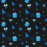 Vector Weihnachtsmuster mit Weihnachtsbaum, Geschenken, Bögen und Schneeflocken auf dunklem Hintergrund Stockfoto