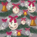 Vector Weihnachtsnahtloses Muster mit Hand gezeichnetem Tannenbaum, Glocken und Weihnachtsdekorationen Lizenzfreie Stockfotografie