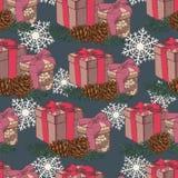 Vector Weihnachtsnahtloses Muster mit Hand gezeichneten Geschenken, Tannenbaum, Tannenzapfen und Schneeflocken Lizenzfreies Stockfoto