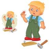 Vector weinig jongen die een spijker en een gekneuste vinger hameren stock illustratie