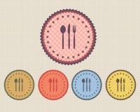 Vector Weinlese-Aufkleber-Abendessen-Ikonen-Taste Lizenzfreies Stockfoto