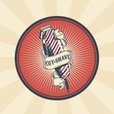 Vector Weinleseausweis, Aufkleber, Zeichen für Friseursalon mit Haarscherer Lizenzfreie Stockfotos