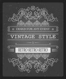 Vector Weinleseeinladungsschablonen-Vektorillustration für Feier und andere mit kühlen eleganten Elementen Lizenzfreies Stockfoto