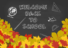 Vector welcome back to school background with chalkboard and autumn leaves. Royalty Free Stock Photography