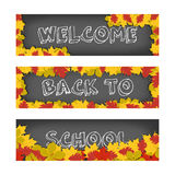 Vector welcome back to school banners with autumn leaves for advertising and sales. Isolated on white background. stock illustration
