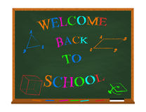 Vector welcome back to school colorful lettering on chalkboard with geometric figures. Isolated on white. Royalty Free Stock Photography
