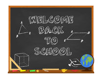 Vector welcome back to school concept with chalkboard and school supplies. Isolated on white background. Royalty Free Stock Photo