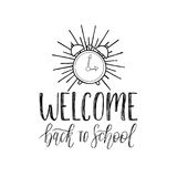 Vector Welcome Back To School handwritten illustration with alarm clock drawing. Knowledge day design concept. Stock Images