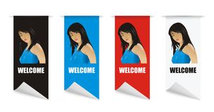 Vector welcome banner girl. Vector isolated banner girl for your website Royalty Free Stock Photo