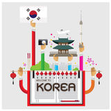 Vector welcome set korea Seoul lamp cozy arm and hand Royalty Free Stock Photography