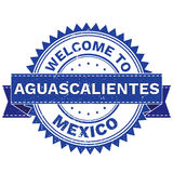 Vector  of WELCOME TO City AGUASCALIENTES Country MEXICO. Stamp.  Sticker. Grunge Style. EPS8 . Royalty Free Stock Photo