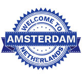 Vector  of WELCOME TO City AMSTERDAM Country NETHERLANDS. Stamp.  Sticker. Grunge Style. EPS8 . Royalty Free Stock Photo