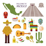 Vector welcome to mexico america guitar set, cactus design icons. Welcome to mexico party fiesta sombrero set. Mexico traditional latin symbols and ethnicity Royalty Free Stock Photos