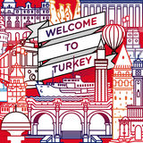 Vector welcome to Turkey travel poster. Vector line welcome to Turkey travel poster Stock Illustration