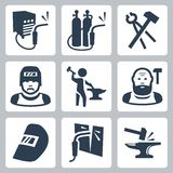 Vector welder and blacksmith icons set Stock Photos