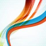 Vector Wellenelemente im blauen, orange und grünen Geschäftshintergrund Stockfoto
