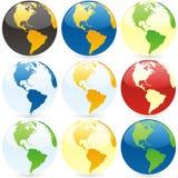 Vector wereldbollen Royalty-vrije Stock Fotografie