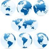 Vector wereldbollen en kaart Royalty-vrije Stock Foto