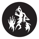 Vector werewolf stencil. White-black color Royalty Free Stock Photo