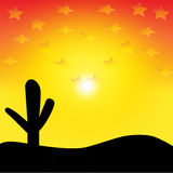 Vector Western Desert Sunset Royalty Free Stock Photo