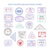 Vector western europe color travel visa stamps set Stock Photo