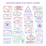 Vector western europe colour travel visa stamps set.  vector illustration