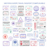 Vector western europe colour travel visa stamps set.  Royalty Free Stock Photos