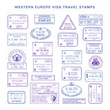Vector western europe common travel visa stamps set Stock Images